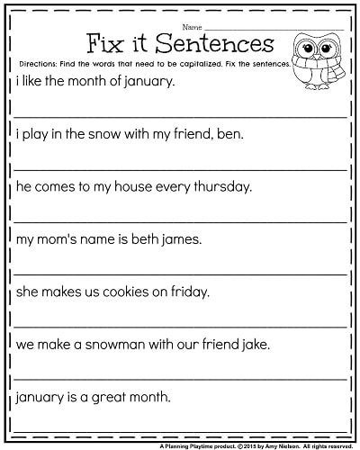 St Grade Worksheets For January