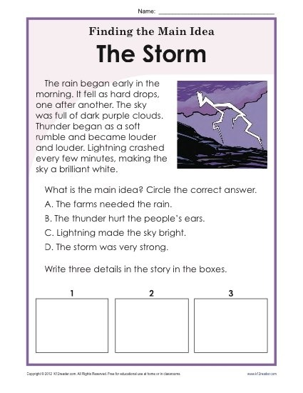 St Or Nd Grade Main Idea Worksheet About Storms Worksheets Idea