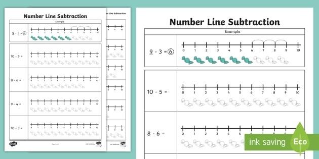 Subtraction From Number Line Worksheet Teacher Made Worksheets Ks