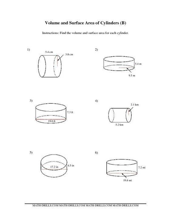Surface Area Cylinder Worksheet Worksheet