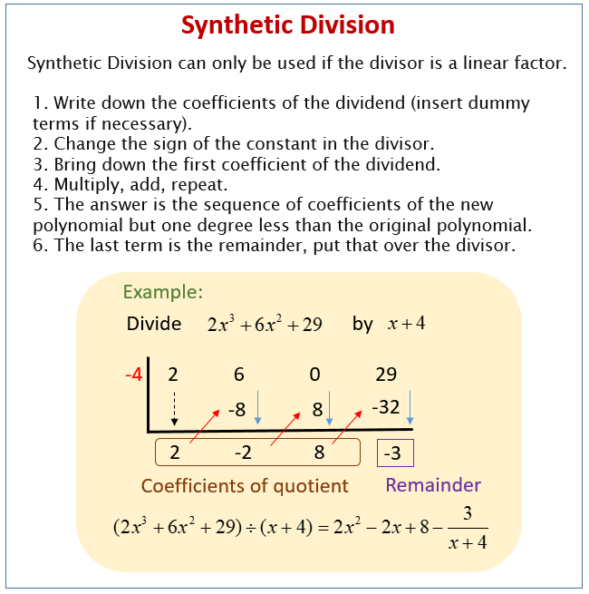 Synthetic Division Solutions  Examples  Videos  Worksheets