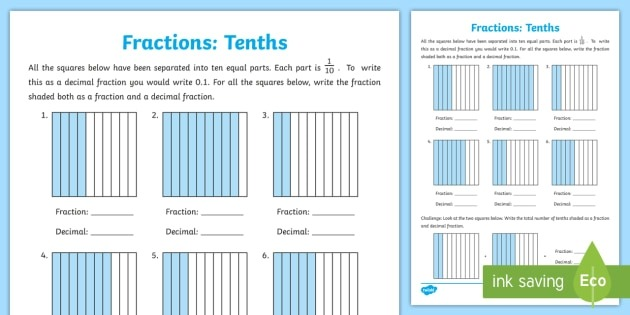 Tenths As Fractions And Decimals Worksheet Teacher Made