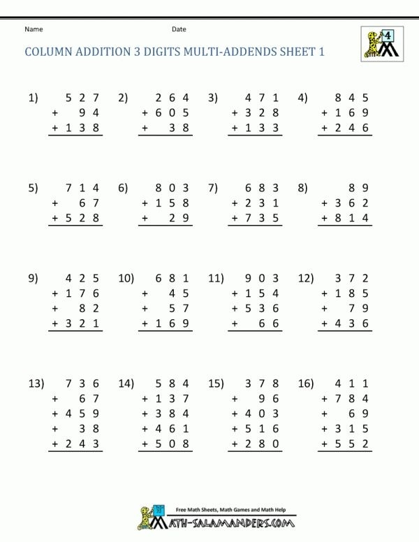 Th Grade Addition And Subtraction Worksheets