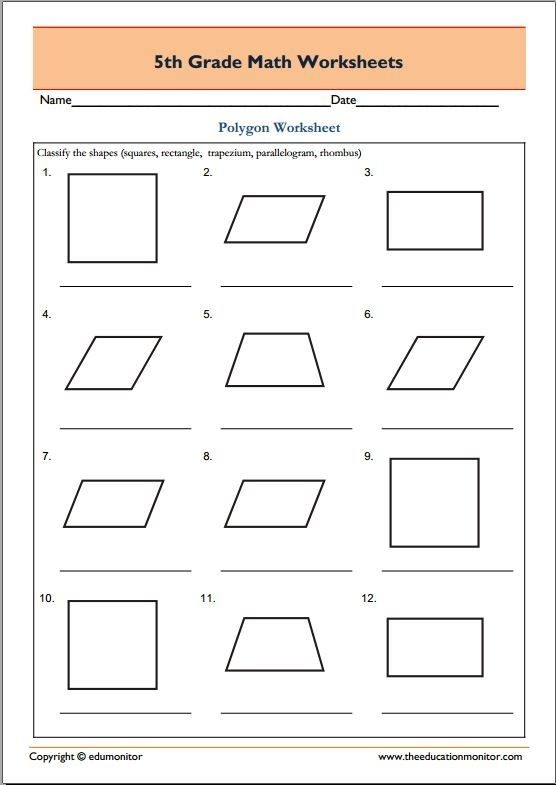 Th Grade Geometry Math Worksheets Polygons Practice Free On