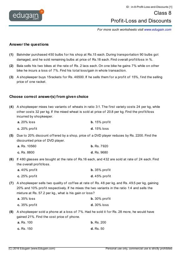 Th Grade Math Worksheets With Answers In Mathematics To Financial
