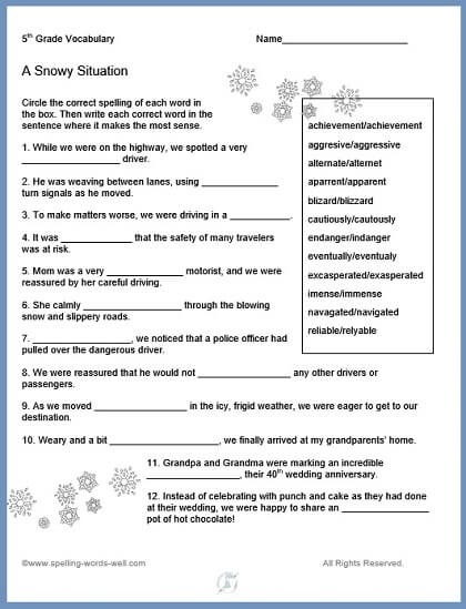 Th Grade Vocabulary Worksheets Free For Th Snowy Tables Practice