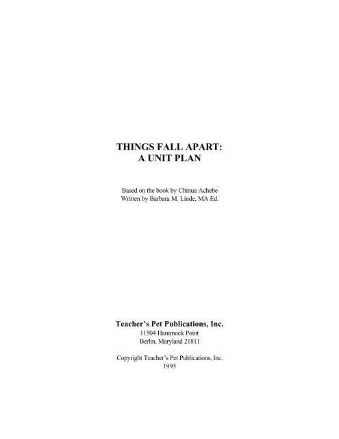 Things Fall Apart Unit Plan