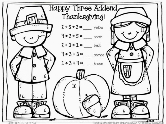 Three Addend Thanksgiving Color By Numberfree