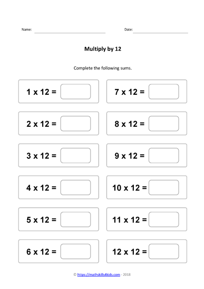 Times Table Worksheets Pdf