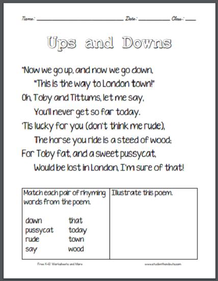 Ups And Downs Poem Worksheet