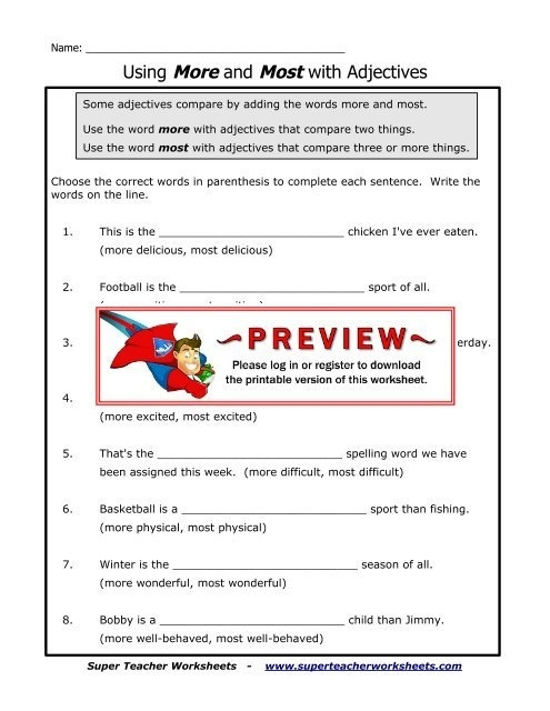 Using More And Most With Adjectives Super Teacher Worksheets