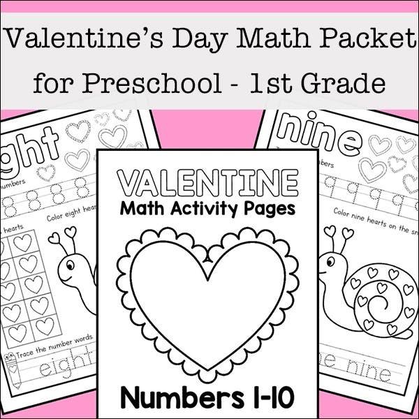 Valentine Math Worksheets For Preschool St Grade Kumon Program