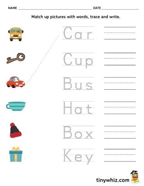 Worksheet  Match Pictures Trace And Write Free Printable