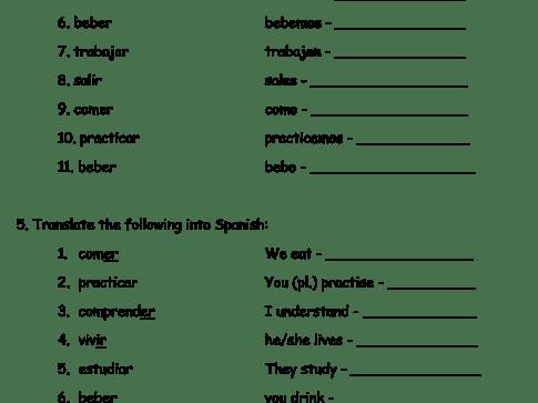 Worksheet For Present Spanish Tense Regular Verb Revision