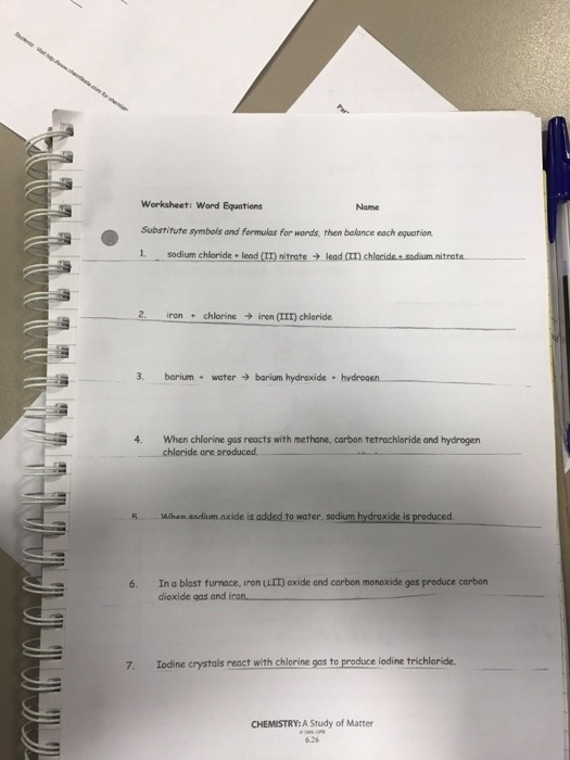 Worksheet Word Equations Chemistry A Study Of Matter Answers