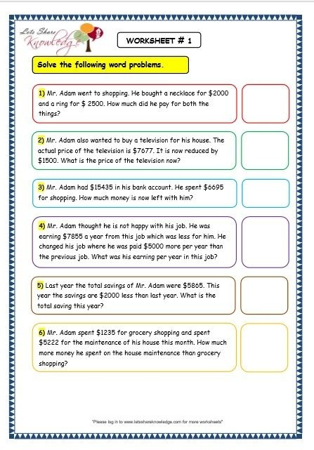 Worksheets On Addition Word Problems For Grade  Worksheets For