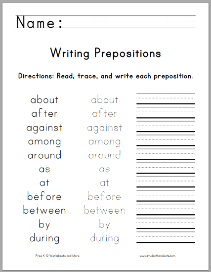 Writing The Top  Prepositions