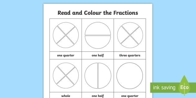 Year  Read And Color A Fraction Worksheet  Worksheet