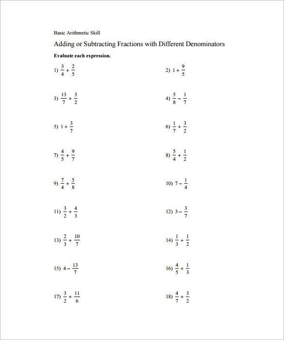 Adding And Subtracting Fractions Worksheets Free Pdf Documents