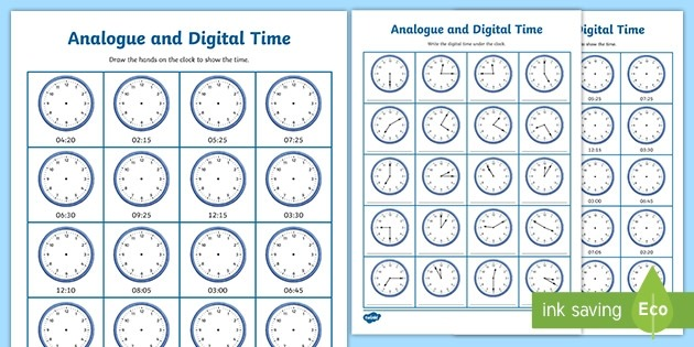 Analogue And Digital Time Activity  Worksheets