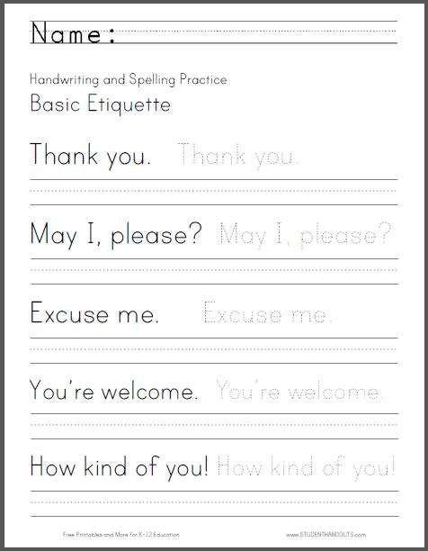 Basic Etiquette Writing Worksheet