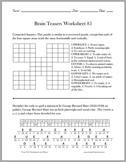 Brain Teasers Worksheet