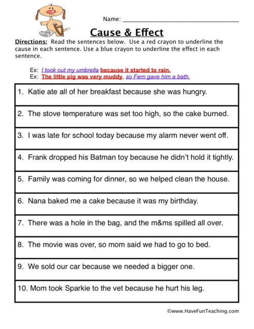 Cause And Effect Worksheets Have Fun Teaching For Grade Worksheet