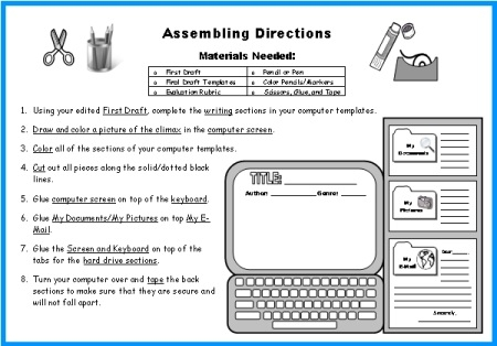 Computer Book Report Project Templates  Worksheets  Grading