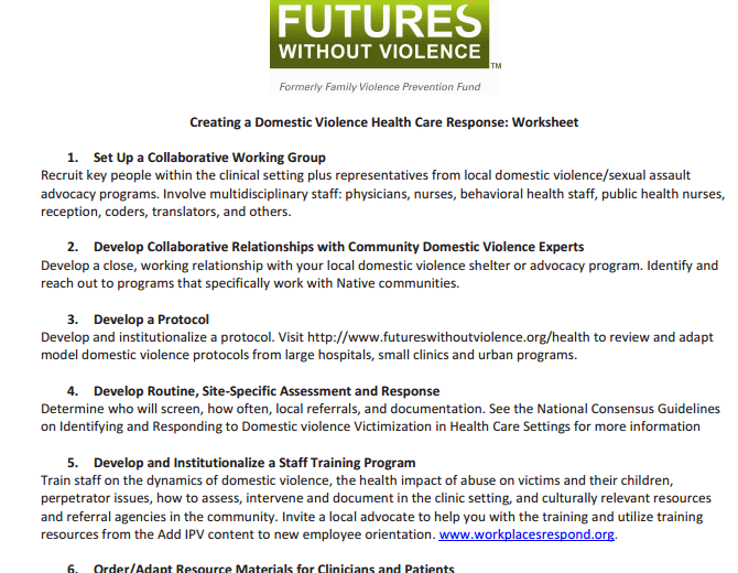 Creating A Domestic Violence Health Care Response Worksheet