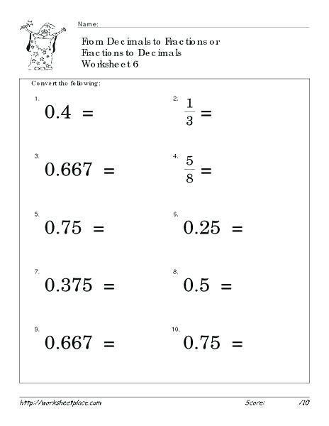Decimals Worksheets Grade  How To Turn Decimals Into Fractions