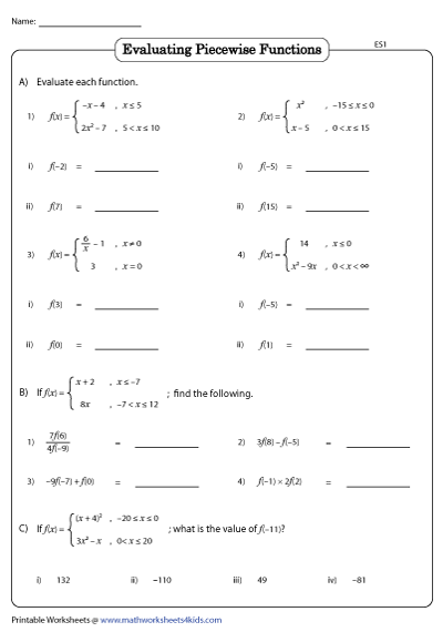 Evaluating Piecewise Functions Worksheets
