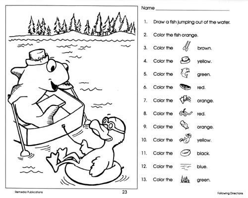 Following Directions Coloring Sheets  Awesome Pictures Of