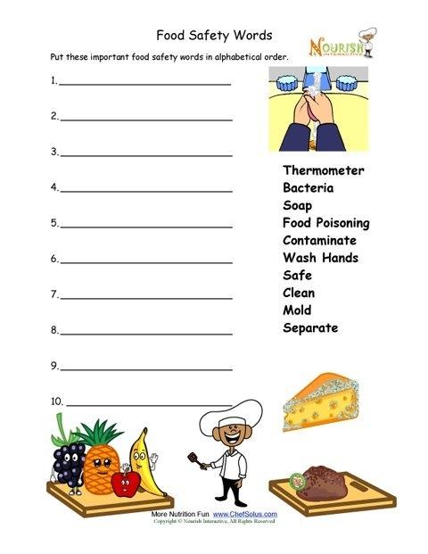 Food Safety Worksheet For Younger Children
