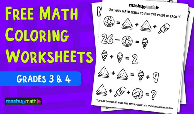 Free Math Coloring Worksheets For Rd And Th Grade  Mashup Math