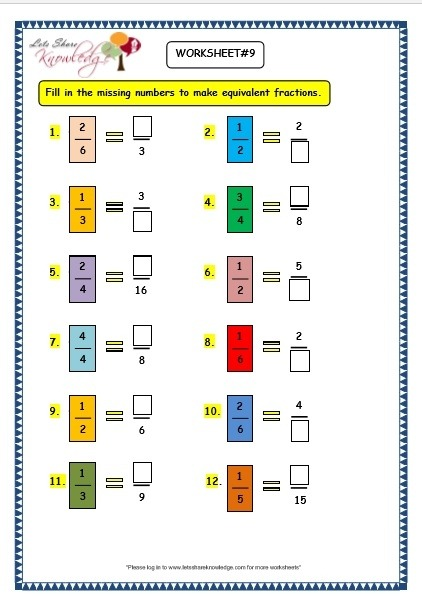 Grade  Maths Worksheets  Equivalent Fractions