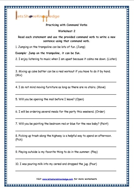 Grade English Resources Printable Worksheets Topic Command Grammar