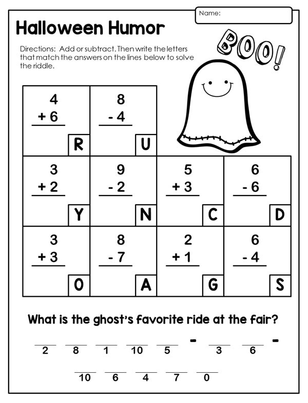 Halloween Math Activities Primary Theme St Grade Worksheets