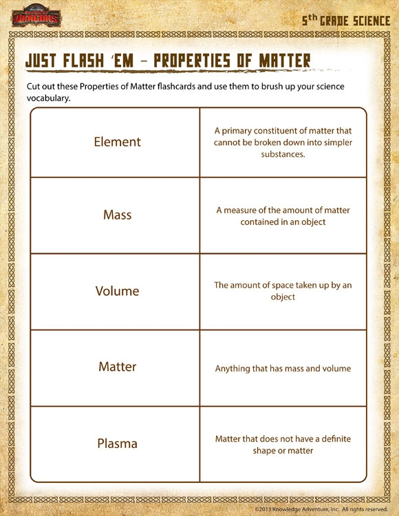 Just Flash Em Properties Matter View Th Grade Worksheet Sod