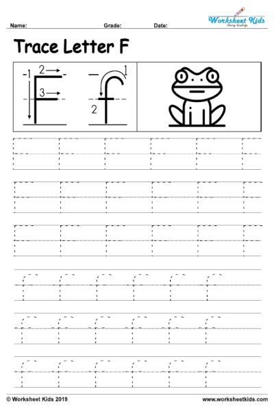 Letter F Alphabet Tracing Worksheets