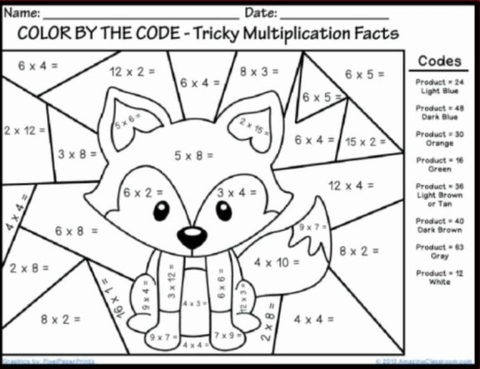 Math Coloring Printable With Images Multiplication Worksheets