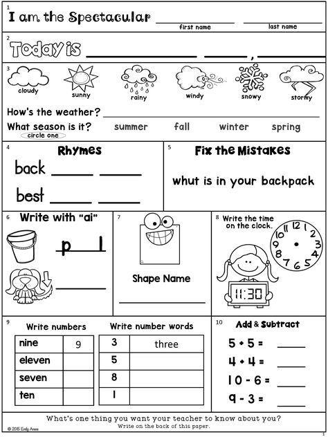 Morning Work Freebie Second Grade August Packetnew Digital