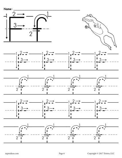 Printable Letter F Tracing Worksheet With Number And Arrow Guides