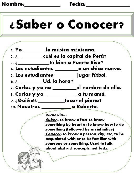 Saber Vs Conocer Worksheet This Is A Great Short Practice Once