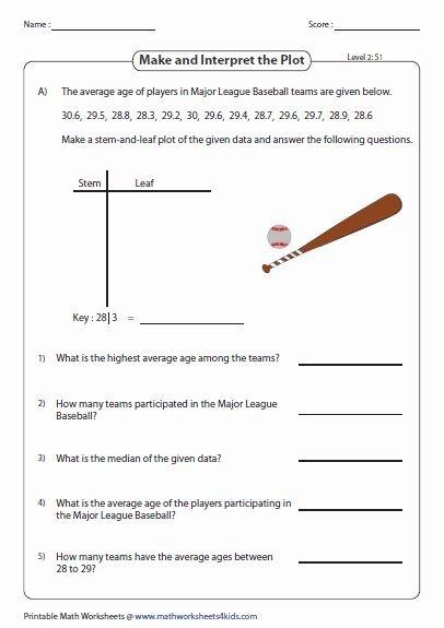Stem And Leaf Plots Worksheet Awesome Stem And Leaf Plot