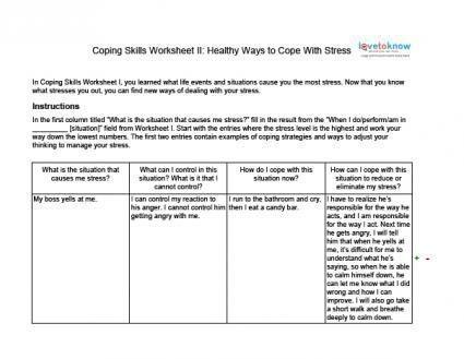 Stress Management  Stress Management  Coping Skills Worksheets