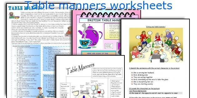 Table Manners Worksheets