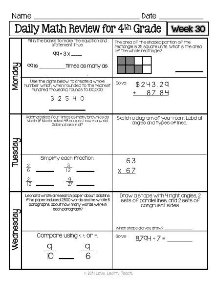 Th Grade Math Terms Fitness Vocabulary Worksheets Middle School