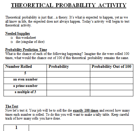 Theoretical And Experimental Probability Lesson Plan Th Grade