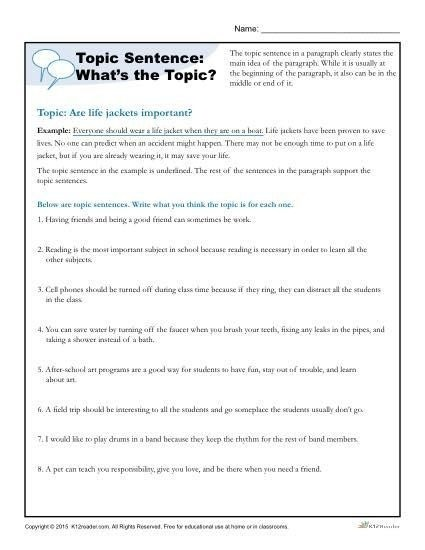 Topic Sentence Worksheets Th Grade Topic Sentence What S The