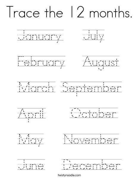 Trace The  Months Coloring Page